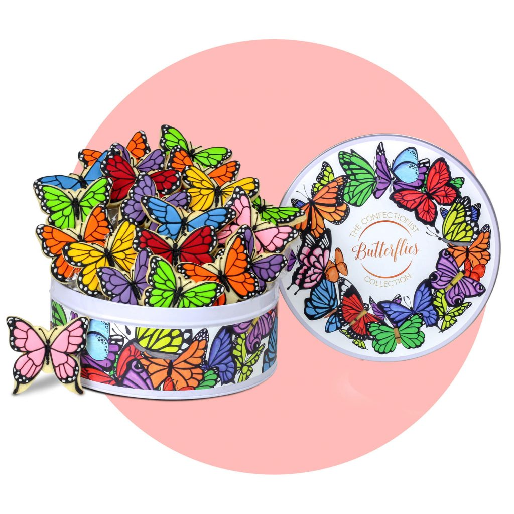 Butterfly Biscuit Colleciton with pink background