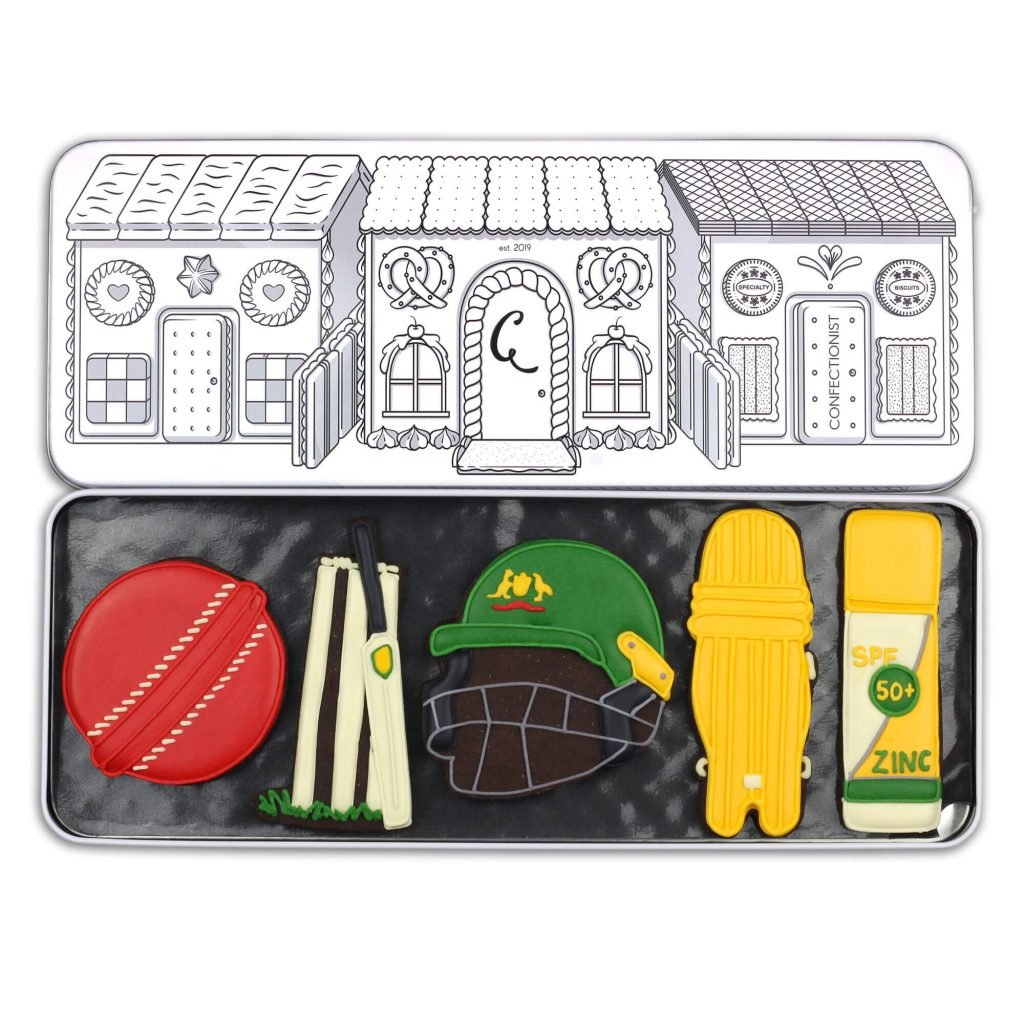 cricket biscuit set in tin