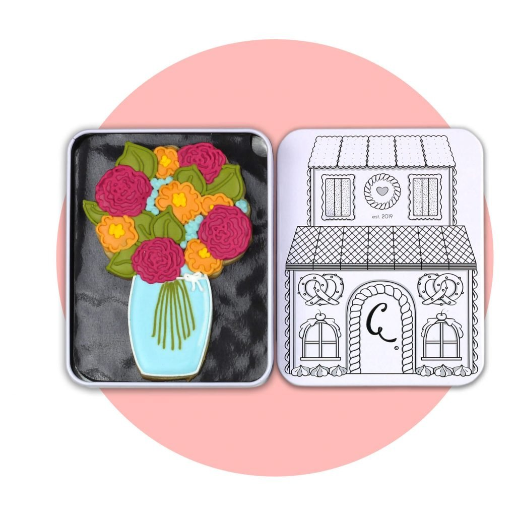 flower bouquet biscuit with pink background