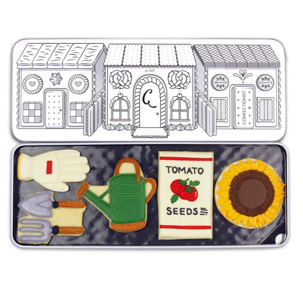 gardening biscuit set in tin