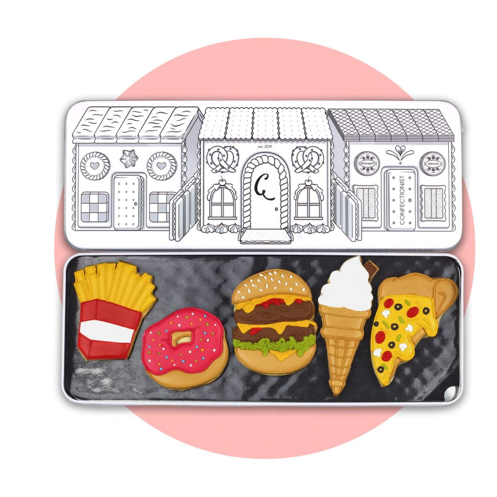 Junk Food Set with pink background