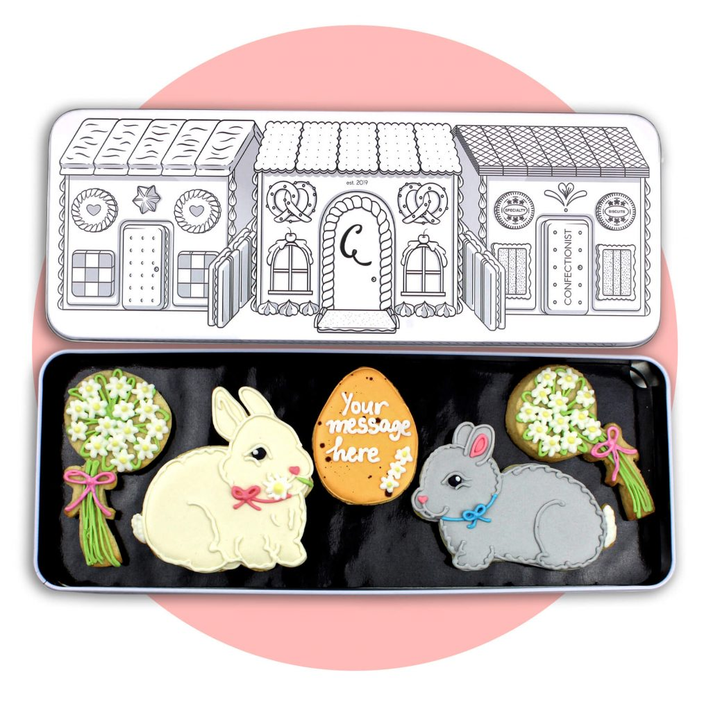 bunny Easter Set with pink circle background